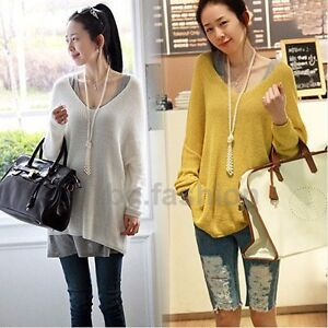 Sexy-V-neck-Oversized-Batwing-Slouchy-Knitted-Top-Jumper-Loose-Sweater-Pullover