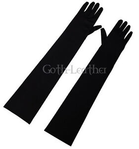 COOL-BLACK-Opera-LongLength-Fingertips-Satin-Gloves-Partywear-2001-black