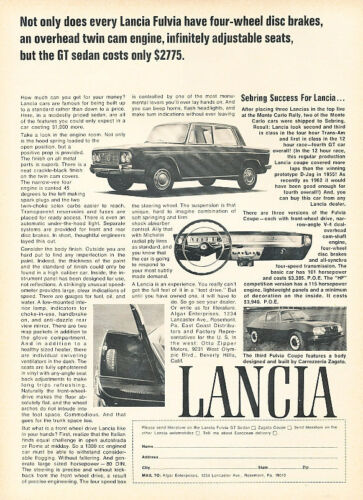 Twin Cam Classic Vintage Advertisement Ad D188 1967 Lancia Fulvia