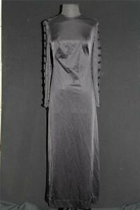 VINTAGE-1970-039-S-034-FUNKY-034-LABEL-LONG-BLACK-OPEN-SIDE-NYLON-DRESS-SIZE-6