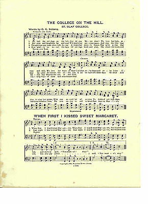 """Vintage St. OLAF COLLEGE song Sheet- """"COLLEGE ON THE HILL"""" 1903 - MINNESOTA"""