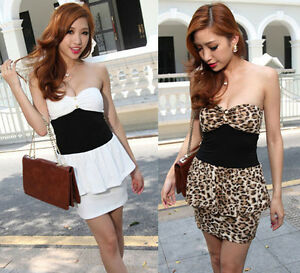 Lady-Hot-Sexy-White-Leopard-Black-Strapless-Clubbing-Cocktail-Party-Mini-Dress