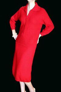 Sz-S-M-2pc-VTG-50s-Wool-Knit-RED-PENCIL-SKIRT-SWEATER-Jantzen-DRESS-SUIT