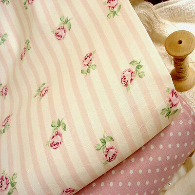 Shabby Chic Cottage Ticking Roses Stripe 100% Cotton Fabric 50x48cm