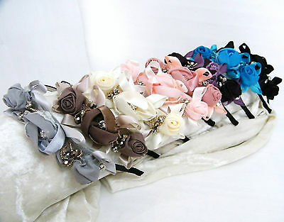 UK - Wedding Silky Roses Ribbon Flowergirls Flowers HEADBAND WITH BEADS Vintage