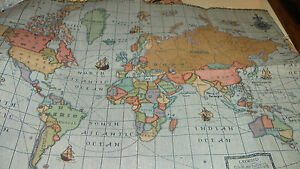 Light-Blue-World-Map-Print-Tapestry-Upholstery-Fabric-27-tall-and-39-wide