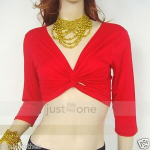 Belly-Dance-Dancing-Yoga-Sport-Dancewear-Blouse-Costume-Soft-Midriff-Wrap-Top