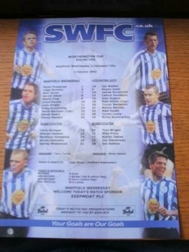 02102002 Colour msheet Sheffield Wednesday v Leicester City Football Leag