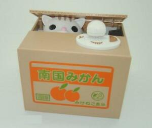 Itazura-Steal-Cat-Coin-Piggy-Bank-White-Kitty-New-Cute-Free-Shipping-Stealing