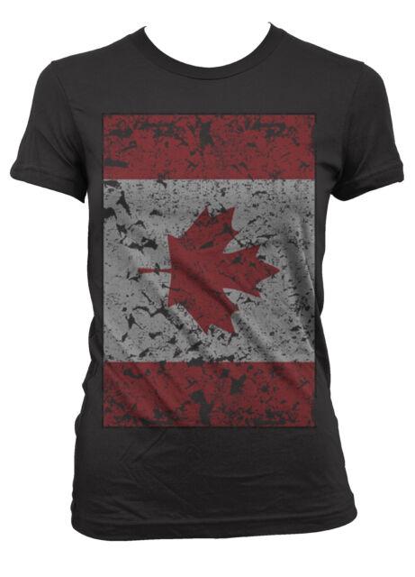 Canada Canadian Flag Maple Leaf Oversized Distressed Juniors Girls T-shirt