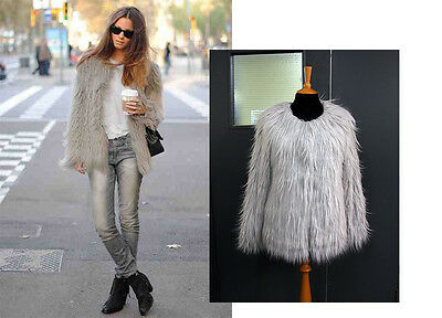 Trendy Fluffy Faux Fur Long Hair Winter Coat Jacket UK 6-16 New
