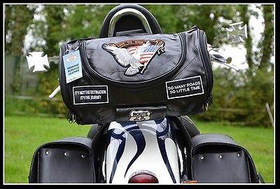 Borsa da trasporto in pelle sissy bar per Harley moto custom Virago Shadow VN