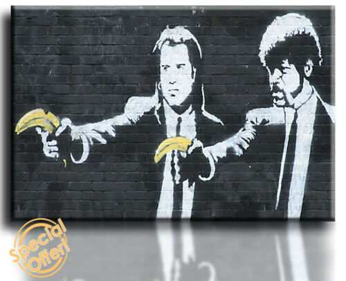 Wall Art Canvas Picture Print Banksy Pulp Fiction Framed Ready to Hang