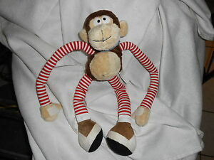 "BONSMART INDUSTRIAL plush 24"" BROWN TAN MONKEY RED WHITE STRIPED LIMBS BANDANA"