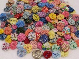 50-FEEDSACK-Flower-Yo-Yo-Fabric-Quilt-Vintage-Doll-Dress-Applique-Hair-Clip-Trim
