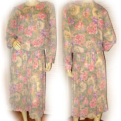 WOMENS Georgette GREEN PINK Purple Floral Flowers Long Sleeve DRESS Top Skirt 8