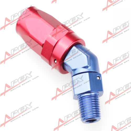 "-8AN AN-8 To 1/4"" NPT 45 Degree Swivel Hose End Fitting Adaptor Red/Blue"