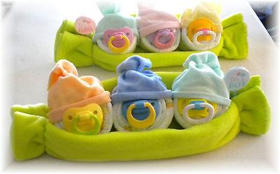 """Diaper Cake Alternative """"Sweet Peas & Pod"""" Baby Shower Gift"""