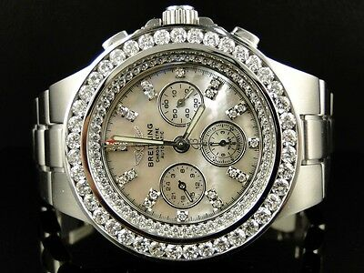 BRAND NEW MENS BREITLING HERCULES DIAMOND STAINLESS STEEL BAND WATCH 7.75 CT