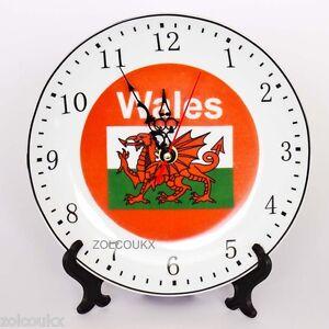Wales-Welsh-Dragon-Porcelain-Plate-Clock-Gift-Souvenir