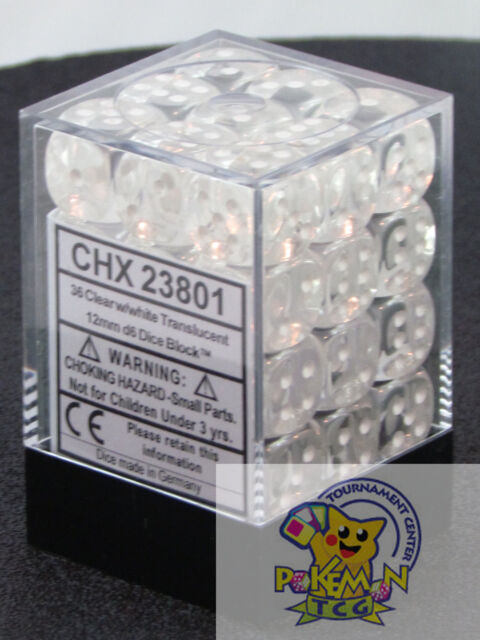 Chessex Translucent 12mm dice set clear with white 36 pieces for Pokemon mtg