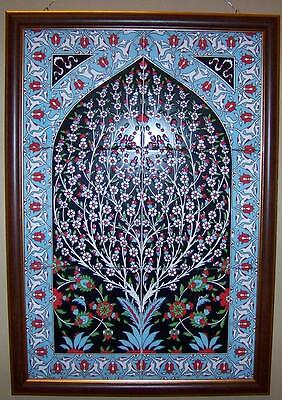 "Black & Blue Framed 17""x25"" Turkish Handpainted Iznik Ceramic Tile PANEL MURAL"