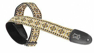 Levy's Guitar Strap Retro Woven Jacquard Tapestry White Gold Diamond M8HT-07