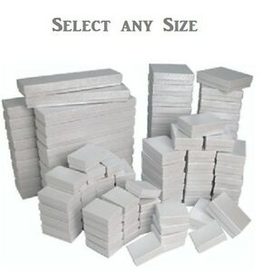 LOT-OF-100-WHITE-COTTON-FILLED-JEWELRY-GIFT-BOXES-ALL-SIZE-ASSORTED-GRAFT-BOX