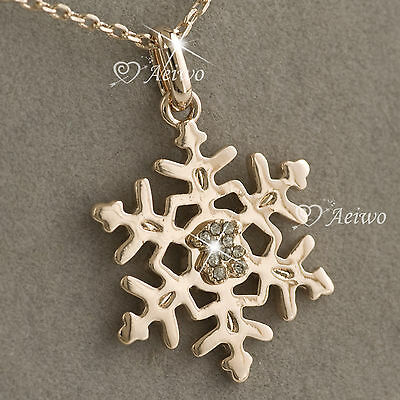 9K GF 9CT GOLD ROSE MADE WITH SWAROVSKI CRYSTAL SNOWFLAKE PENDANT NECKLACE