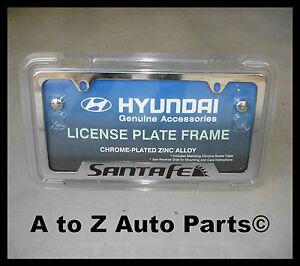 New 2005 2017 Santa Fe Chrome License Plate Frame Oem