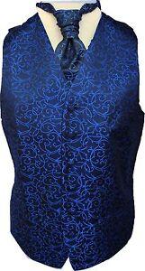 Mens-Black-Royal-Blue-Swirl-Wedding-Waistcoat-w-wo-Cravat-Tie-Bowtie-from-18-95