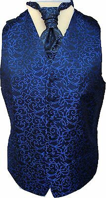 Mens Black/Royal Blue Swirl Wedding Waistcoat w/wo Cravat-Tie-Bowtie from 21.75