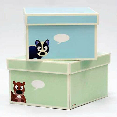 2 Krooom Storage Boxes Toy Tidy Large With Lids (Set Of 2) Kids Cardboard Box