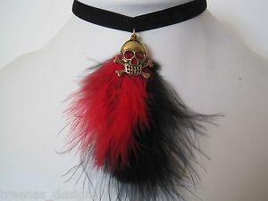 PIRATE-GOLD-SKULL-amp-CROSSBONES-Black-Velvet-Red-Black-Feather-Choker-Necklace
