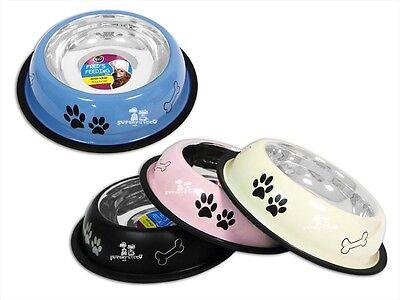 Anti Skid Stainless Steel Pet Dog Puppy Feeding Food Water Bowl Dish Printed