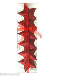 Pack-Of-6-Red-Hanging-3D-Glitter-Stars-Christmas-Tree-Decorations-9cm-Brand-New