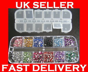 3000-Crystal-Flat-Backed-Acrylic-Rhinestones-Gems-12-Colours-1-5-mm-2-0-mm-kit