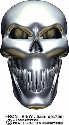 Silver Skull Face Decal by ITIGD : Sticker Emblem Badge Harley Davidson Ford SUV