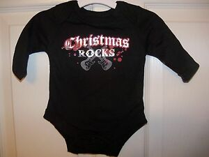 Baby-Glam-Christmas-Rocks-Black-One-PC-Infant-Boys-Girls-Size-3-Months-NWT