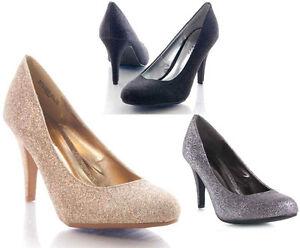 New-Classic-Comfy-High-Heels-Pumps-Glitter-Gold-Multi-Black-Boutique-22-5-5-10
