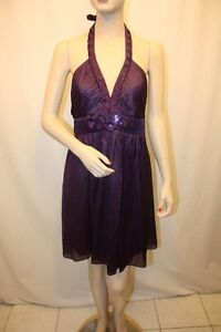 NEW-BCBG-MAX-AZRIA-DARK-ORCHID-POLY-HALTER-COCKTAIL-DRESS-SIZE-8