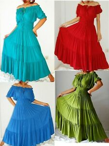 Boho-Mexican-Peasant-Maxi-Dress-8-10-12-14-16-18-20-22-24-26-blue-green-red-aqua