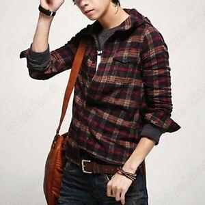 Korean-Stylish-Men-Casual-Check-Slim-Fit-Dress-Shirt-Hoodie-Hoody-Hat-Red-Plaid