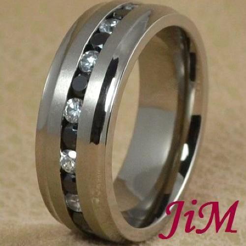 8MM Titanium Ring Black & White Diamonds Wedding Band Men's Jewelry Size 6-13