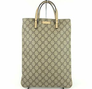 AUTHENTIC-GUCCI-GG-LOGO-BROWN-amp-BEIGE-CANVAS-TOTE-HAND-BAG-PURSE-MADE-IN-ITALY