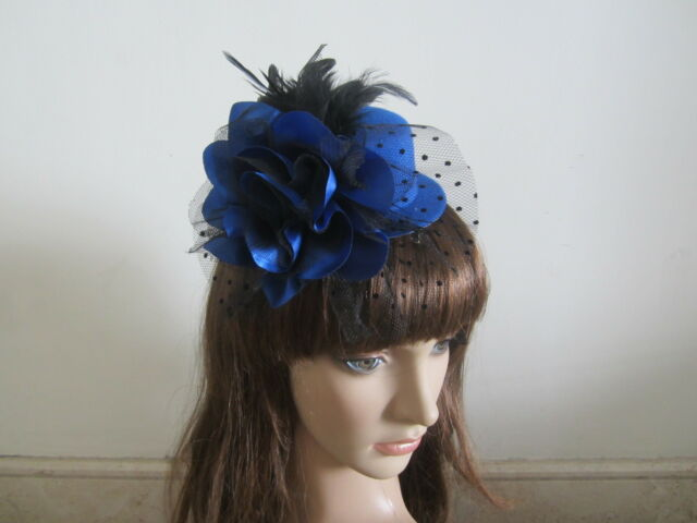 Hair Fascinators Clip Lady Mini Top Hat Headpieces Charming Wedding Blue Feather