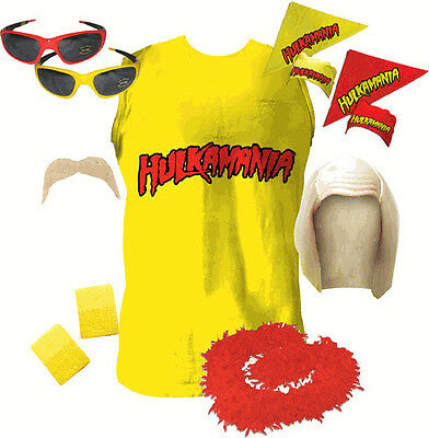LICENSED Hulkamania Hulk Hogan Halloween COSTUME SET