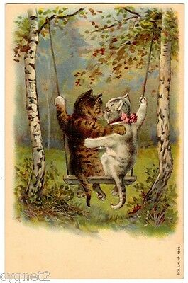 POSTCARD CATS ON A SWING EMBOSSED EARLY CHROMOLITH SERIES L.K. 1802