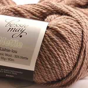 Nettle-amp-Organic-Aran-Hand-Knit-Wool-Bessie-May-NETTLE-in-Brown-of-039-Bark-039