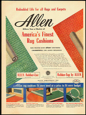1952 Vintage Ad for Allen America's Finest Rug Cushions (021212)